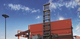 Nieuwe empty containerhandler van Hyster tilt dubbele containers