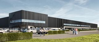 Zo zal het distributiecentrum in Etten-Leur eruitzien (Architecture by Wastiau & Co Architectenbureau). Dagelijks zullen 140 vrachtwagens aan de 55 docks hun producten kunnen leveren of afhalen.