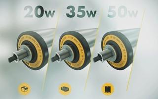 Er is bij het nieuwe platform keuze tussen drie vermogens. De versie van 20 watt is bestemd voor light-duty applicaties, zoals het transport van lege kartonnen dozen, terwijl de krachtige versie van 50 watt geschikt is voor het transport van zwaardere lasten. Voor het meest gebruikelijke transport – van bakken bijvoorbeeld – is er de 35 watt-versie,
