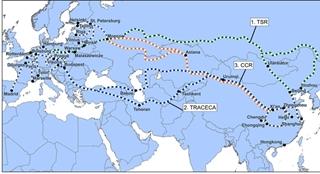 Het transport van Europa naar China – en omgekeerd – verloopt via drie belangrijke Euraziatische routes.